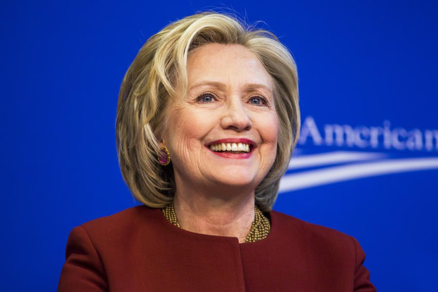 Former U.S. Secretary of State Hillary Clinton  takes part in a Center for American Progress roundtable discussion on