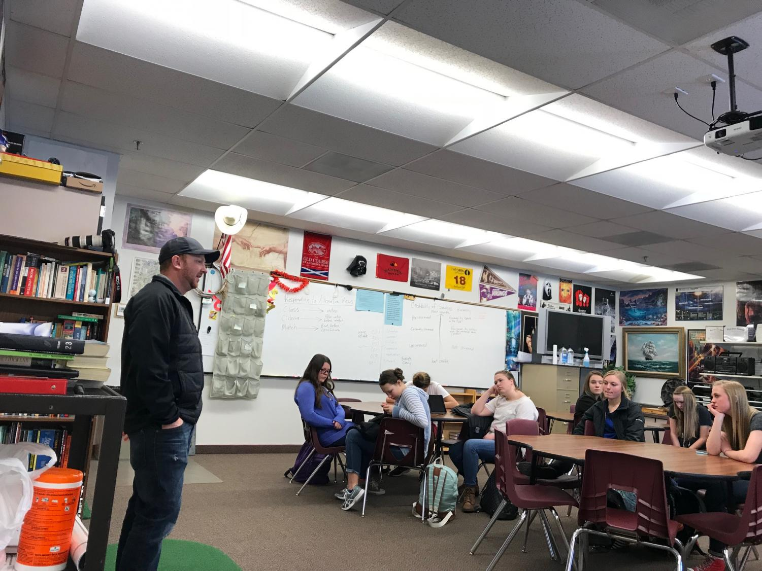 SCHOOLED: Duke Dance from SVI Media visits with freshmen in Mr. Fullmer's class. Students spent the week there learning about opportunities in media.