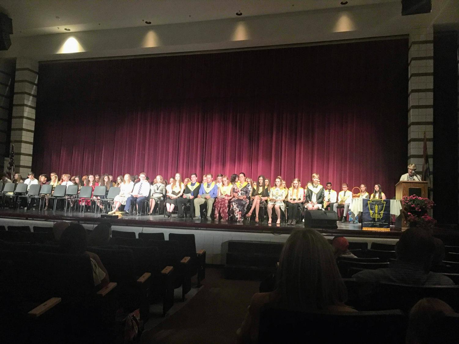 SPECIAL ED: Graduating NHS seniors prepare to move on while incoming seniors who meet the exacting standards of this organization get welcomed in during this induction ceremony that took place on Tues, May 15.
