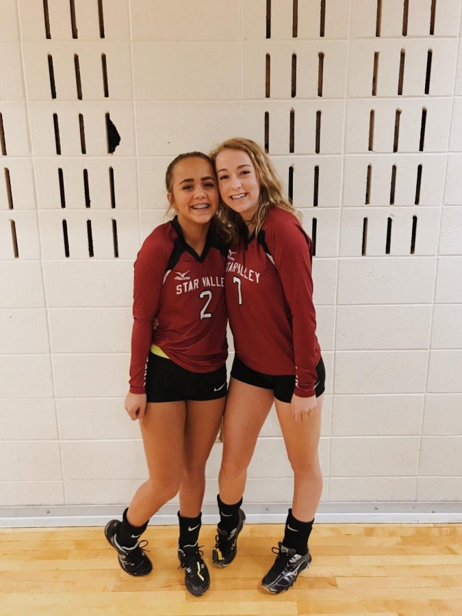 POWER+COUPLE%3A+Brierly+Battleson+and+Strasburg+get+as+close+as+they+can+for+a+picture+ending+their+sophomore+year+of+volleyball.+