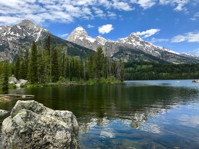 VALLEY VIEW: Taggart Lake in Grand Teton National Park sits at the mouth of Avalanche Canyon, a U-shaped canyon formed by glaciers.