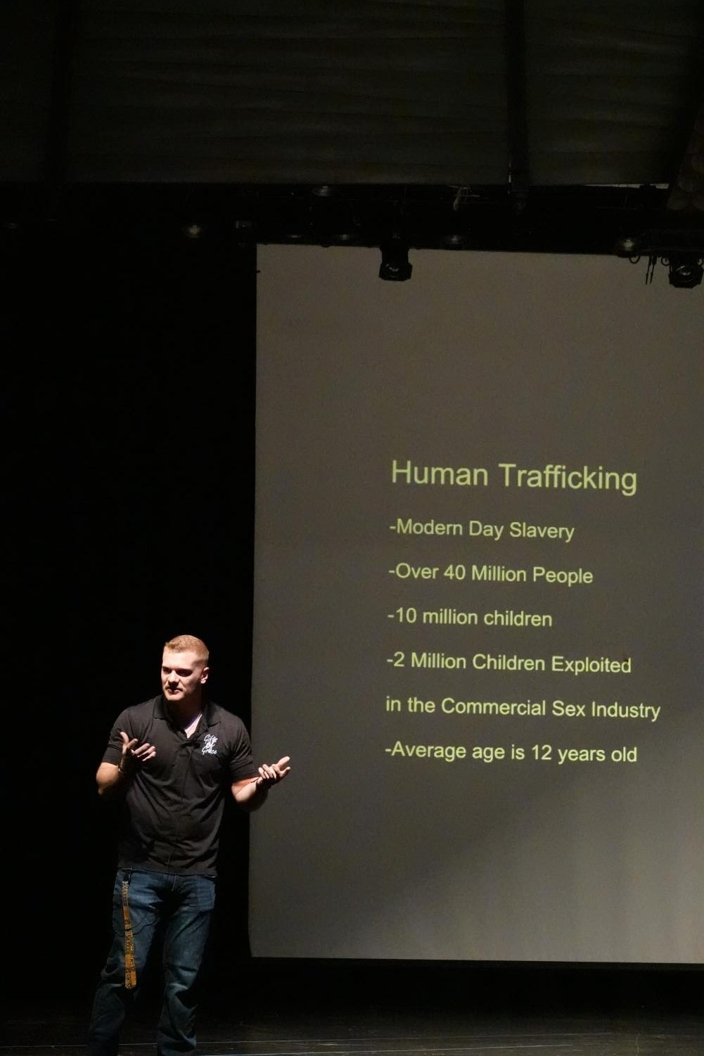FREEDOM: Former SVHS graduate Tyler Schwab speaks to the student body about the reality of modern-day slavery.