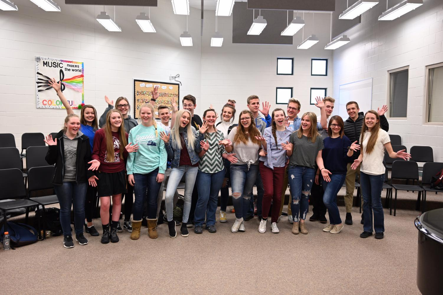 Nineteen: The best of the school's vocalists who represented our school in Casper at All-Choir assemble in their favorite room: the choir room.
