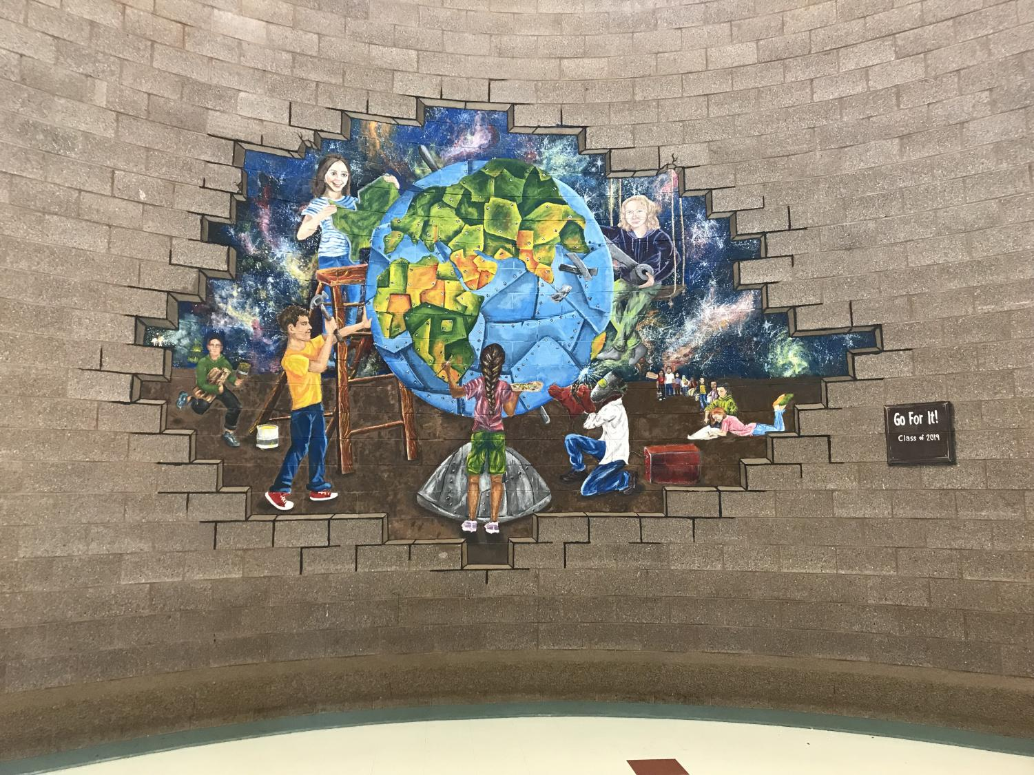 FINALLY FINISHED: Students can see the final product of the mural in the rotunda at SVHS.