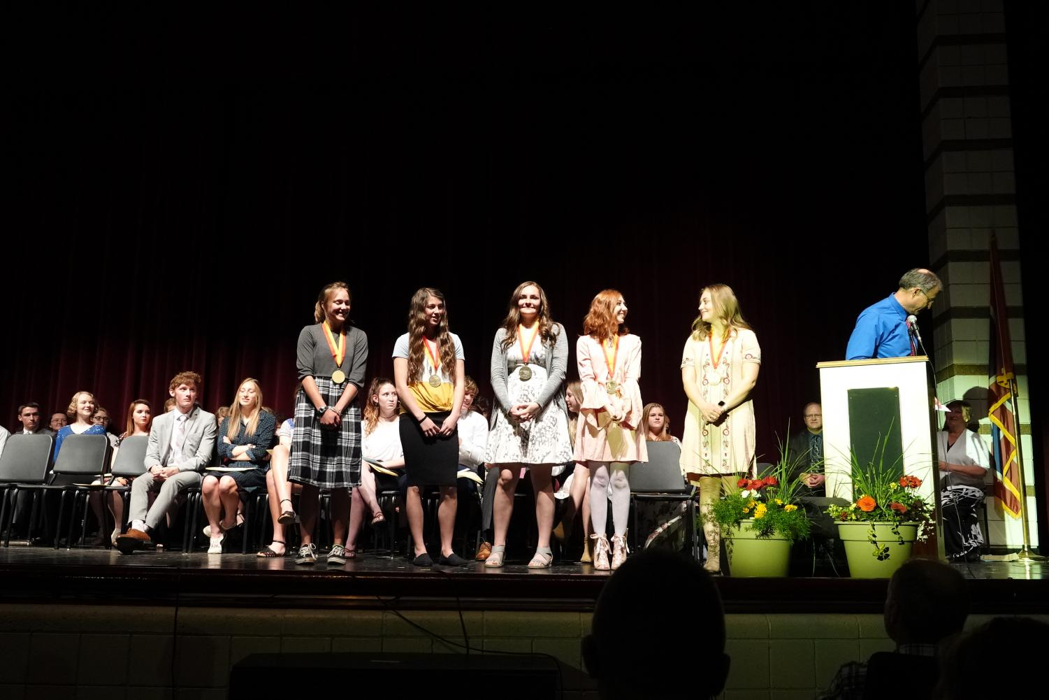 THE GREATS: The honor students of SVHS accept their titles with grace and smiles.