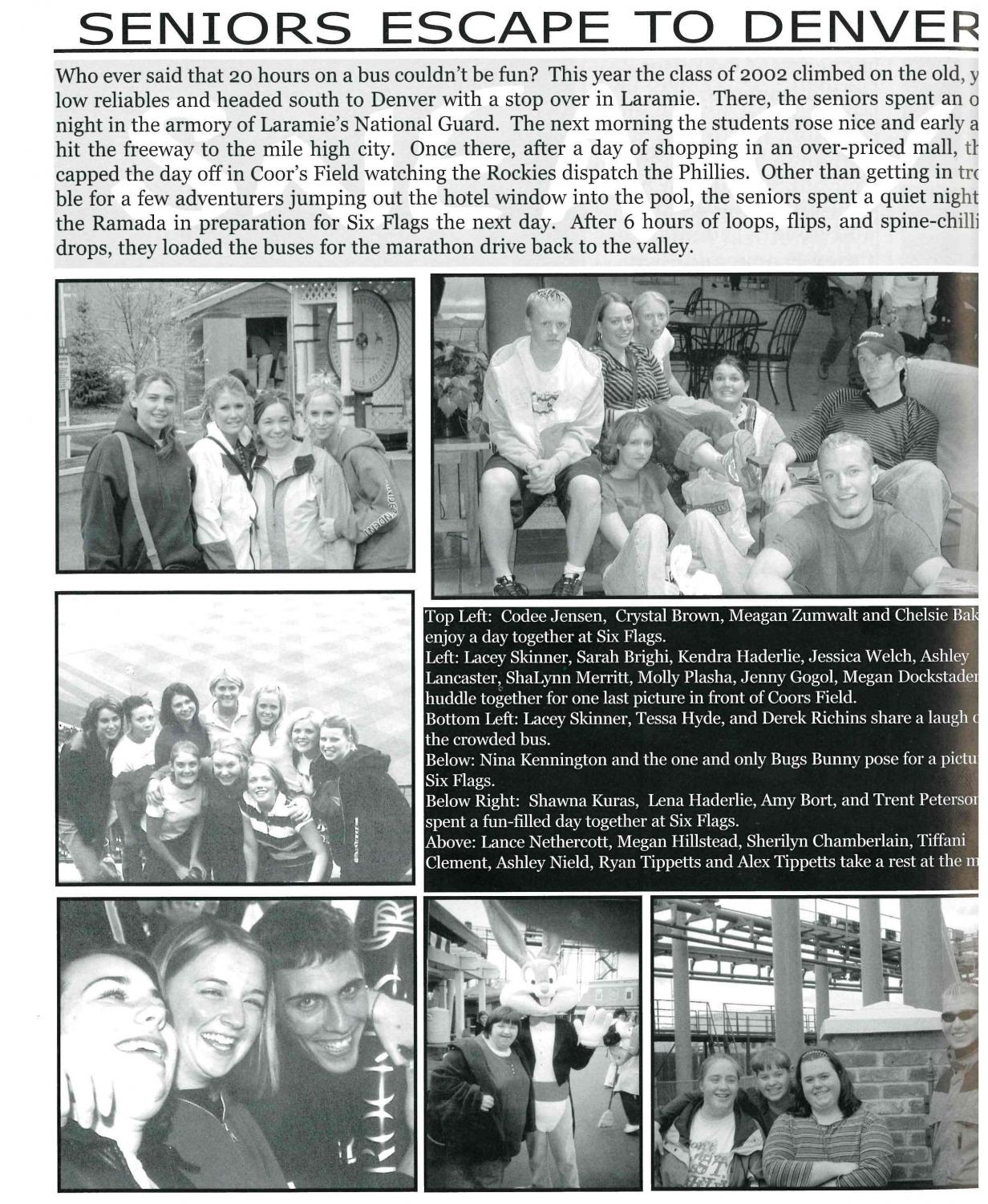 SNEAKY: This page from the 2002 yearbook chronicles the senior sneak to Denver.