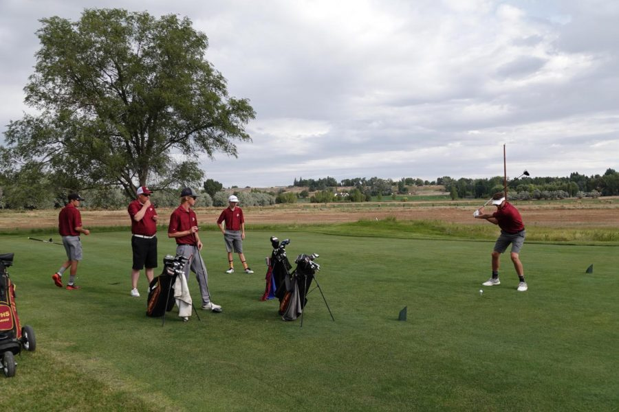 TEEING OFF: Preston Kilroy, Coach Johnson, Jake Johnson, Karsen Spaulding, and Tyler Hodges all enjoy some tee time together at the Riverton Golf and Country Club in Riverton Wyoming. These Braves earned the chance to play together due to the tournaments unique matchplay format.