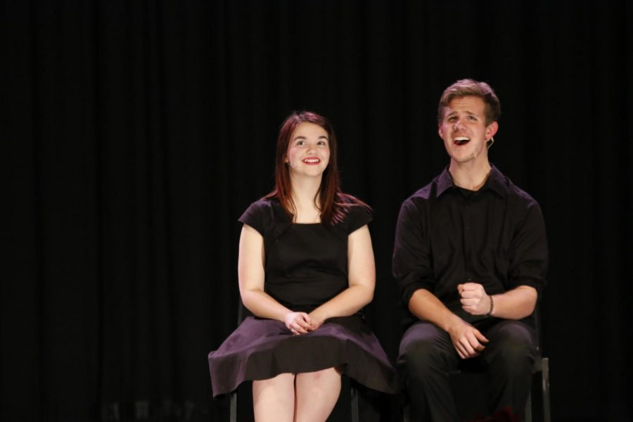 ACTION: Elsie England and Jacob Seilbach put their best foot forward during the drama showcase. At the showcase, actors and singers performed the pieces they competed with at state drama.