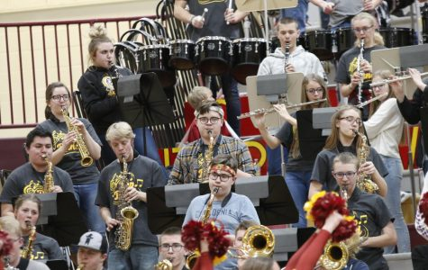 JAMMIN OUT: The Pep band plays during a time out. Many players and fans alike feel that the band is a key contributor to the atmosphere and home court advantage the Braves enjoy.