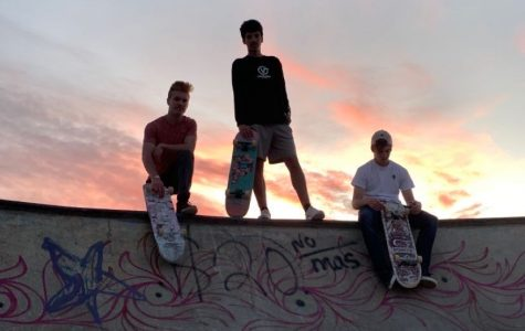 CHILLIN': Seniors Cael Delgado (left) Dakota Passey (middle), and Spencer Larson (right) do more posing than actual skating.