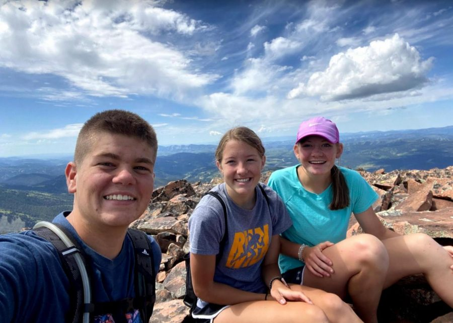 ADVENTURE%3A+Juniors+Preston+Buehler%2C+Sara+Mcken%2C+and+Emmalee+Hale+enjoy+the+view+after+their+long+hike+up+Wagner+Peak%2C+one+of+Hale%27s+many+hikes+of+the+summer.
