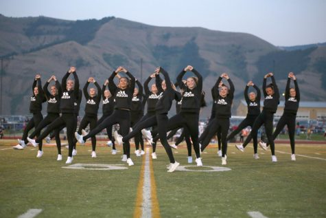WORK: The Brave Cadettes showcase their new look and moves at the first home football game.
