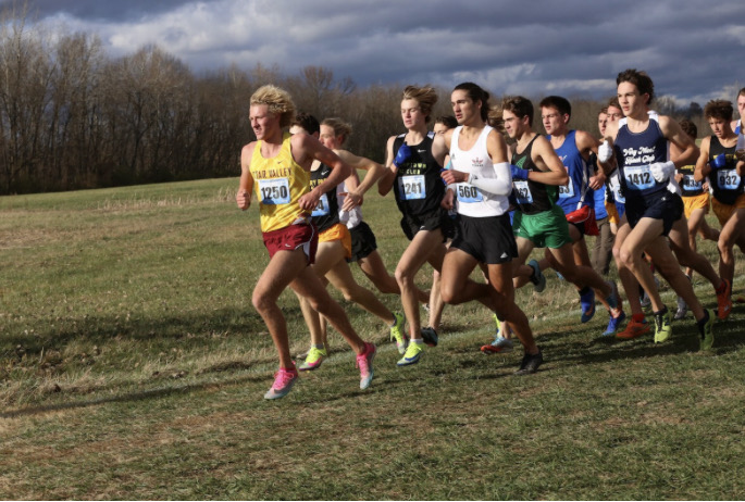 NOT CLOSE FOR LONG: Peter Visser legs it out with the most elite high school runners in the country at a meet in Indiana.