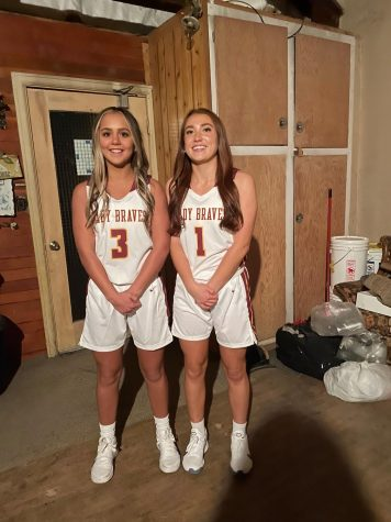 "BASKETBALL BESTIES: Seniors Brierly Battleson and Emma Thompson are close on and off the court. ""I love playing with my best friend Brierly,"" said Thompson."