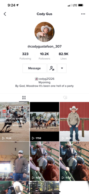 COWBOY CULTURE: Senior Cody Gustafson represents Wyoming ways through his Tik Toks.