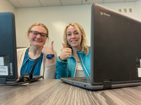 MODEL CITIZENS:  Emily Strasburg and Gracilynn Ward show excitement for the two-day, virtual Model UN conference.