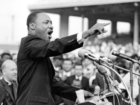 """THE KING: Martin Luther King Jr. doing what he did best: inspiring people. He changed the country and deserves recognition and honor on the holiday named for him. """"We can do many things to remember the things that he did.""""  said Mr. Pebbles."""
