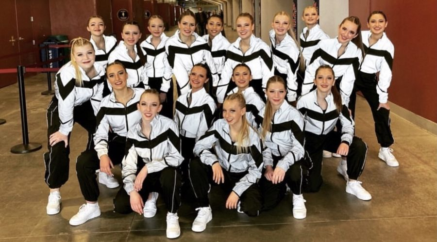 "STATE CHAMPS: The SVHS Brave Cadettes got the ""W"" at state: 1st in jazz and hip hop! ""Winning a state title with your closest friends is a feeling you can't beat... and the party all the way home was EPIC with everyone clumped together in one spot on the bus singing and laughing,"" said new coach Wendy Kabonic."