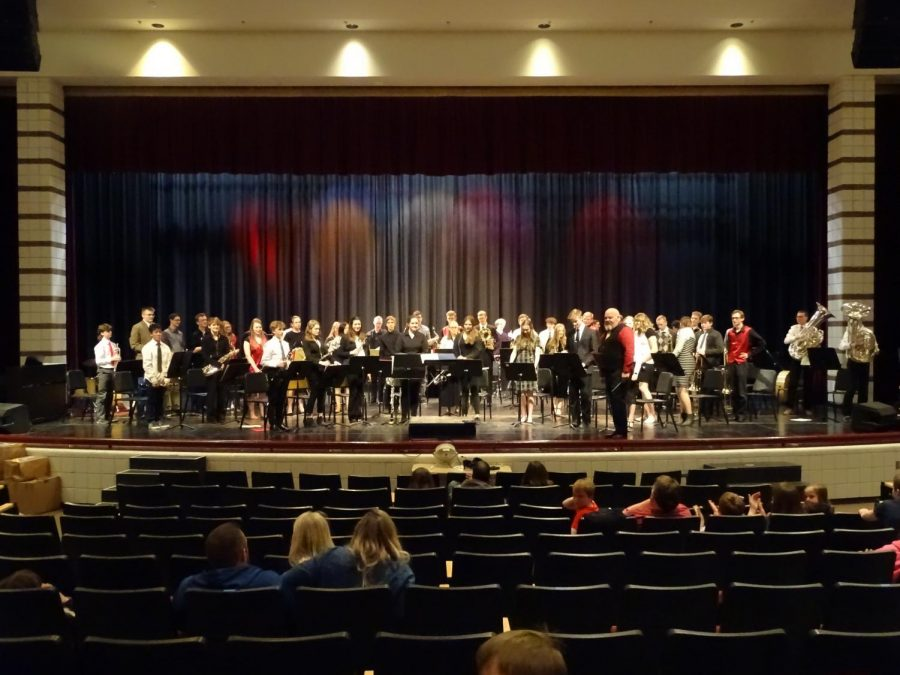 BANDED: The band held their spring concert at the end of March in the auditorium, the place they have held class all year long. The band has since moved back into the band room for class and practice.