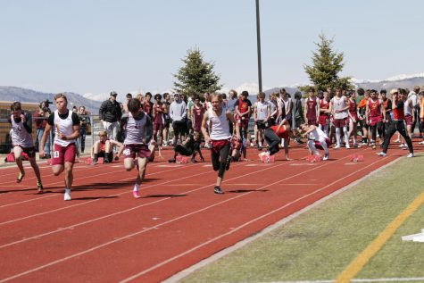 FAST AND FURIOUS: Sprinters explode from their marks at the Braves home invite track meet.