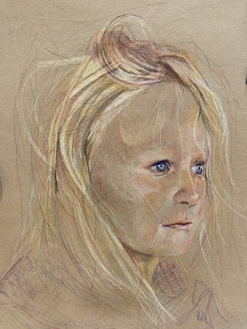 """WORK OF ART: This colored pencil piece called """"Lilly"""" by Callin Sanderson won a congressional honorary purple ribbon at art symposium in Arpil.  The drawing is of his sister Lilly. """"I really wanted to focus on her eyes and get them right,"""" said Sanderson."""