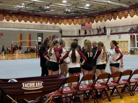 """HUDDLE UP: The Lady Braves come together to talk strategy against Cokeville. The home tournament included seven teams and for the first time this season the Lady Braves were able to show the community what they have been working on. """"We won four out of our six matches, so it felt like a good home showing,"""" said senior Whitnee Hale."""