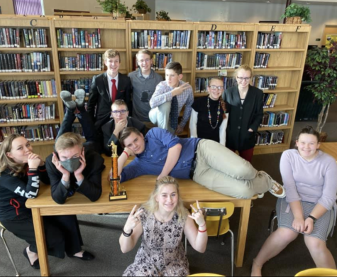 NEW AND OLD: Members of the speech and debate team prepare have fun during day two of the national qualifier tournament last spring. Three from this group would go to qualify: Ashley Helm (Far Left), Gabe Daniel (4th from right) and Prisclla Greenwell (bottom).