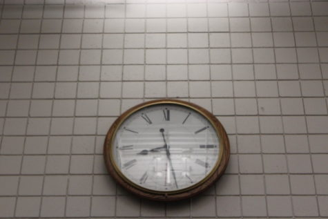 TIME IS TICKING: The clock in the commons of the high school reminds students and teachers that they must balance multiple responsibilities with only so many hours in the day.